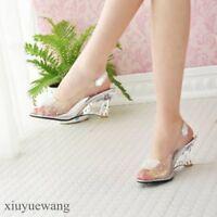 Womens Clear Transparent Peep toe Slingback Sandals High Wedge Heel Shoes Pumps
