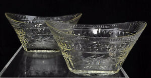 Pair of Antique George III Oval Cut Flint Glass Fruit Bowls circa 1790 AS IS