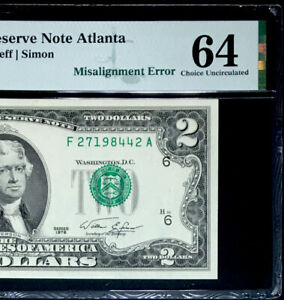 1976 $2 FEDERAL RESERVE NOTE- MISALIGNED OVERPRINT ERROR-PMG #64 CH UNC
