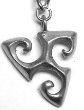 "Tribal design keychain (""triskele - 3-legged running man"") charm"