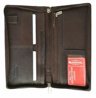 Brown Solid Leather Wallet Passport Cover ID Holder Credit Card Travel Organizer