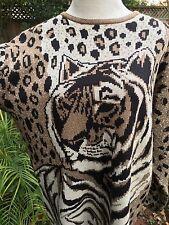 Lisa Originals Bling Tiger Leopard Metallic Sweater Fur Winter Fantasy Vtg NWT