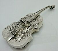 Antique 1901 Sterling Solid Silver Rare Miniature Cello Pill Box (1669/9/VSN)