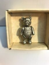 Teddy Bears From The Past Fully Jointed Pewter Pin Dollhouse Miniature Russ