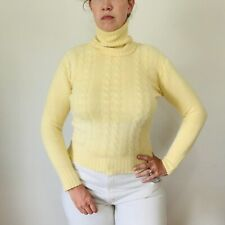 Vintage Yellow Angora Cable Knit Sweater Turtleneck Size Small