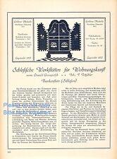 Möbel Frankenstein Schlesien 1923 Reklame Historie Grosspietsch Tritzschler +