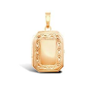 Rose Gold Rectangular Locket Engraved Frame Solid 9ct Gold Hallmark Two Picture