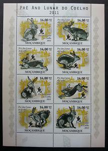 [SJ] Mozambique Year Of The Rabbit 2011 Pet Chinese Zodiac Lunar (sheetlet) MNH