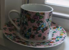 Mary Engelbreit Pink Chintz Demitasse Tea Cup & Saucer Mug Set Floral 2002