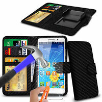 For Lenovo A516 - Clip On PU Leather Book Wallet Case & Glass