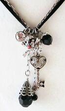 £40 Silver Black Pirate Skull Key Pendant Necklace Swarovski Elements Crystal