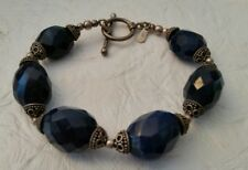 """Vintage 925 Navy Blue Sterling Silver 8"""" Cut Glass or Stone Beads Bracelet India"""