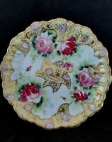 """Antique hand painted porcelain dish """"Pink Roses"""" 12.25 inches"""