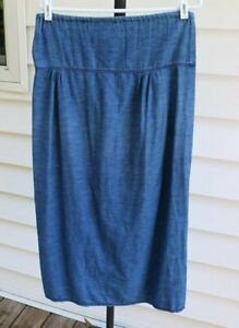 Gene Ewing Bis Vintage 80s Denim Skirt M Medium Blue Chambray Boho