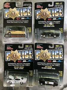 FOUR die cast POLICE CRUISERS 1950-57 INDIANA, ILLINOIS, ST. PAUL, NEW YORK CITY