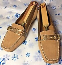 Etienne Aigner Suede Driving Shoes Moccasins Loafers Tan w/ Leather Trim 7M NWT