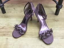 RAVEL RHONDA TAUPE SLIK SATIN WITH BEADS SANDALS SIZE 6/39 WORN ONLY BRIEFLY