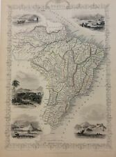 BRAZIL Map 1851 John Tallis