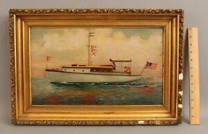 Antique Fred M Blake 1913 O/C Oil Painting, American Motor Yacht Lake Boat