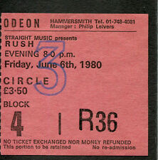 Original 1980 Rush concert ticket stub Permanent Waves The Spirit Of Radio