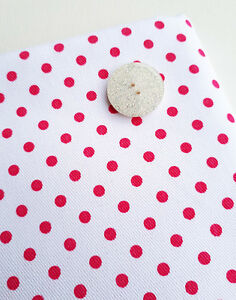 Pink and White Polka Dot 100% Cotton Drill Twill Fabric Material 150cm Fuchsia