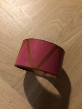 Folk Clothing Genuine Brown Leather Cuff Triangle Print Bracelet - RARE