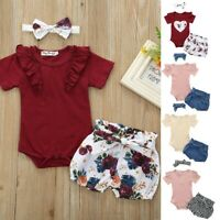 Toddler Baby Girls Clothes Set Floral Romper Jumpsuit Bowknot Shorts Outfits Set
