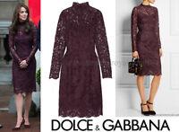 New £1900 Dolce & Gabbana Plum Purple Lace Dress 44 uk 12