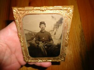 Original Civil War Soldier Tintype Photograph with CORPS BADGE & Backdrop