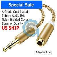 3.5mm Audio Extension Cable Stereo Headphone Cord Male to Female Car AUX MP3 RV