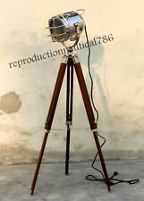 Hollywood Nautical Studio Spotlight Floor Lamp With Wooden Tripod Searchlight