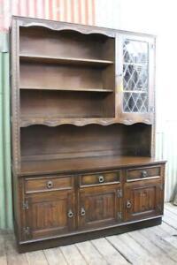 A Jaycee English Tudor Oak & Leadlight Bookcase Display Cabinet Hutch