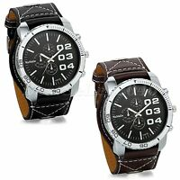 Military Army Mens Black Brown Wide Leather Band Sport Analog Quartz Wrist Watch