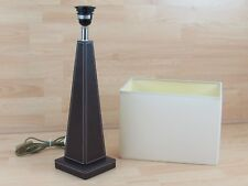 Table Lamp & Shade Leather Black Triangle Wooden Bedside Dining Room Lighting