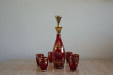 1920's Vintage Venetian Glass Decanter w/6 Glasses Red with Gold Overlay (46)