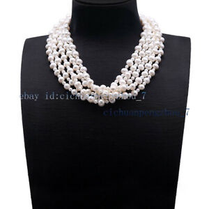 5 Strands Natural 5-6mm 9-10mm White Freshwater Baroque Pearl Necklace  22'' AAA