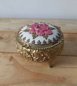 Footed Jewelry or Trinket box gold plated with velvet lining Made in Japan