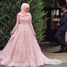 New custom made fashion pink Muslim wedding dress 6-8-10-12-14-16-18+