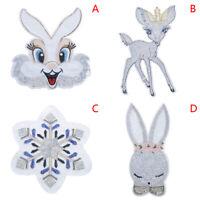 Sequins patch Deer Snowflake Rabbit DIY patches Sew-on applique