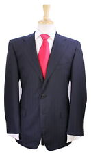 * SARTORIA PARTENOPEA * Recent Black w/ Sky Blue Striped 2-Btn Wool Suit 38R