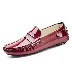 Mens Flats Casual Pumps Slip On Patent Leather Driving Shoes Moccasins Size 6-12
