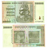 UNC ZIMBABWE $20 Billion Dollars (2008) P-86 from the $100 Trillion bill series