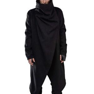 Mens Punk Gothic Long Cardigan Cape Tops Cloak Coat Irregular Poncho Outwear