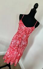 M&S Per Una Sexy Frilly Fitted Midi Leopard Print Pink Dress Size 10 Party