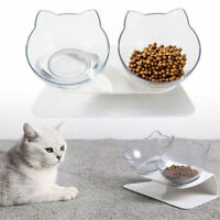 Non-slip Cat Double Bowls Pet Food Water Bowl Cats Dog Feeder with Raised Stand@