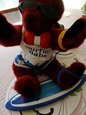 "Vermont 17"" Red Teddy Bear Dressed as a Surfer with Surf Board"