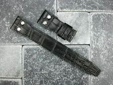 22mm Black Gator Grain Leather Strap watch Band with Rivet IWC BIG PILOT 22