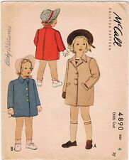 1942 Childs Coat McCall 4890 WWII 4yr Old Cut Complete Collar Girls Pockets Easy