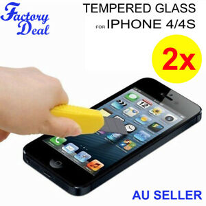 2x Tempered Glass Film Screen Protector For Apple iPhone 4S 4 Scratch Resistant