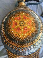 Lovely Vintage Hand Carved & Hand Painted Wooden Decanter Leather Handles,MB217